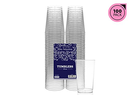 Elite Selection 10 Oz. Pack Of 100 Clear Hard Disposable Party Plastic (Wedding Plastic Cups)