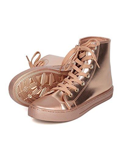Qupid Femmes Baskets Montantes Métalliques - Casual, École, Baseball - Sneaker Orteil Gf24 Par Rose Gold