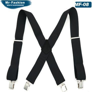 Fasker Mens Suspenders X-Back 2″ Wide Adjustable Solid Straight Clip Suspenders