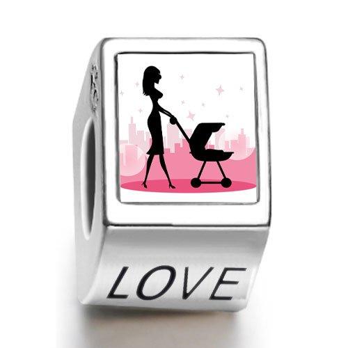 Día de la madre regalo Rarelove de amor a madre de fotos de cochecito carrito de bebé con Love cuenta para pulsera Europea: Amazon.es: Joyería