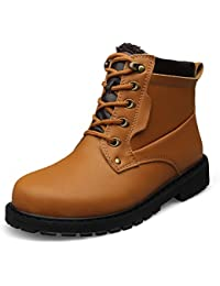 Ben Sports Mens Lace Up Combat Work Boots Ankle Boots High Top Boots Booties with Fur Lining