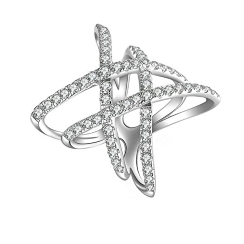 AmDxD Jewelry Silver Plated Women Promise Customizable Rings Double X Shape CZ Size 9 by AMDXD