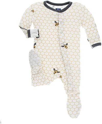 KicKee Pants Unisex Baby Footie with Snaps, Natural Honeycomb, 18-24M