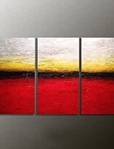 "Pintado a mano paisaje pintura al óleo moderno, lienzo Tres Paneles, lona, 12"" x 24""-black, 12"" x 24""-black"