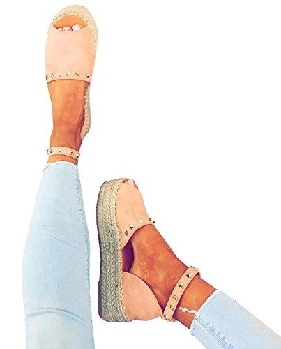 Platform Summer up Espadrilles Ankle Lace Womens Syktkmx D'Orsay G Flat Sandals pink Wrap Strap CXwz15q