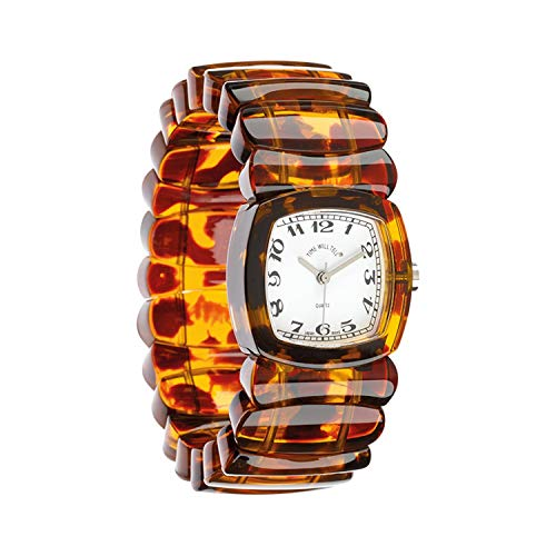 - Floriana Women's Wrist Watch - Retro Vintage Look Acrylic Stretch Band, 3 Colors - Tortoise - Large