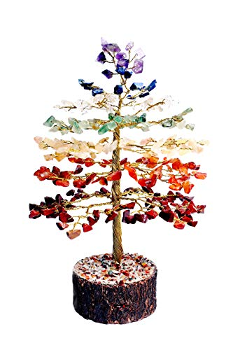 (FASHIONZAADI Natural Stone Feng Shui Bonsai Money Tree for Good Luck Chakra Balancing Crystal Gemstone Energy Decor Home Gift Size -10 Inch (Seven Chakra Golden Wire))