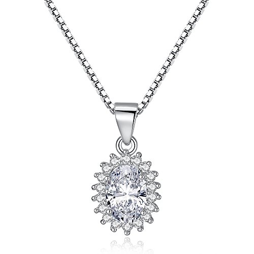 BELAWANG 925 Sterling Silver Pendant Necklace Sparkling CZ, 45cm Box Chain For Christmas Day Mother Day Gift