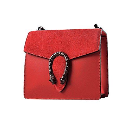 RONDA avec cuir Pochette en suède fermeture main MYITALIANBAG nickel accessoire bandoulière sac à Sac Rouge Baguette Mini foncé et chaîne à lisse dXqxxzaw