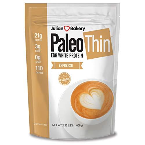 Paleo Thin® Protein Powder (Egg White) (Espresso) (2.33lbs) (Soy Free) (100mg Organic Caffeine) w/Monk Fruit (30 Servings)