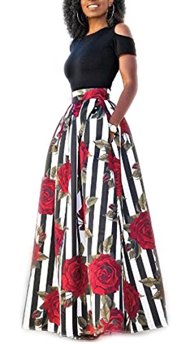 Playworld Women 2 Piece Set Cold Shoulder Blouse and African Print Maxi Skirt,Red 2-short (Black Red 2 Piece)