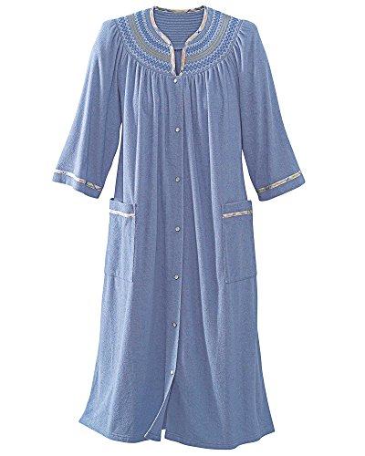 (National Plaid Trim Terry Robe, Antique Blue, Large)