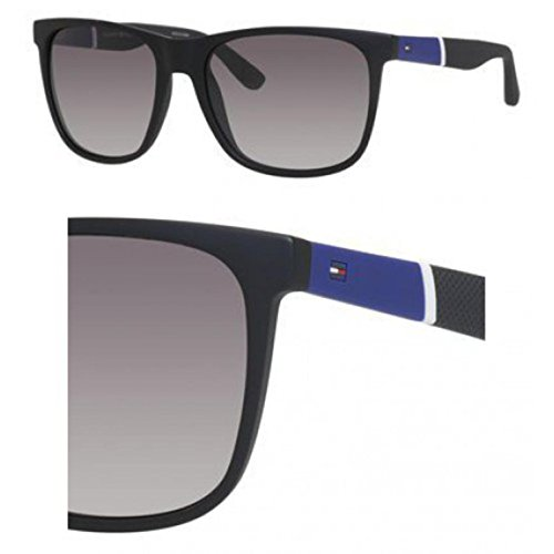 (Tommy Hilfiger Thilfiger 1281/S 0FMA Matte Black IC gray mirror shaded silver lens Sunglasses)