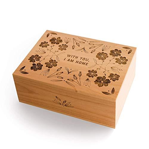 - With You, I Am Home Laser Cut Wood Keepsake Box (Valentine's Day Gift/Wedding / 5th Anniversary/Love/Heirloom/Decorative/Handmade)