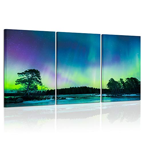 Kreative Arts Northern Lights Canvas Prints Contemporary Art Modern Wall Decor 3 Panel Wood Mounted Giclee Gorgeous Aurora Borealis Sky Photography Prints Ready to Hang 16x24inchx3pcs