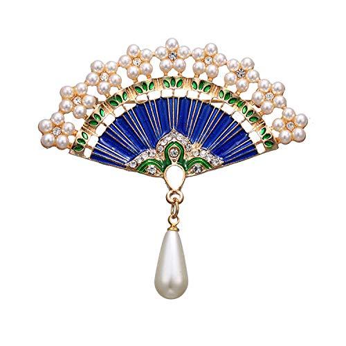 Fan Brooches Pins Rhinestone Beads Vintage Fashion Imitation Pearl Fan Shaped Brooch for Women Jewelry Accessories