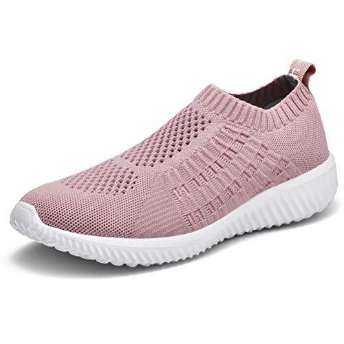 konhill Women's Casual Walking Shoes - Breathable Mesh Work Slip-on Sneakers,Mauve,38