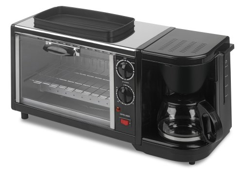 Kalorik Breakfast Set: 3-In-1 Coffee Maker/Oven/Griddle, Stainless/Black (Toaster Oven And Coffee Maker compare prices)