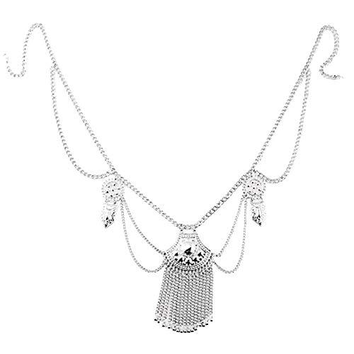 Chatelaine Sterling Silver (vmree Women Girls Sexy Nightclub Party Body Chain Plated Tassel Waist Line Chain Chatelaine Trendy Beach Bikini Slave Necklace Jewelry Gift (Silver))
