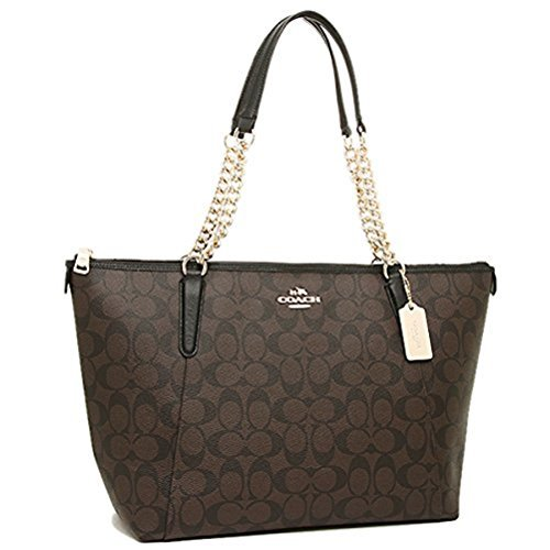 Coach Ava Chain Tote in Signature Brown/Black F23526 IMAA8