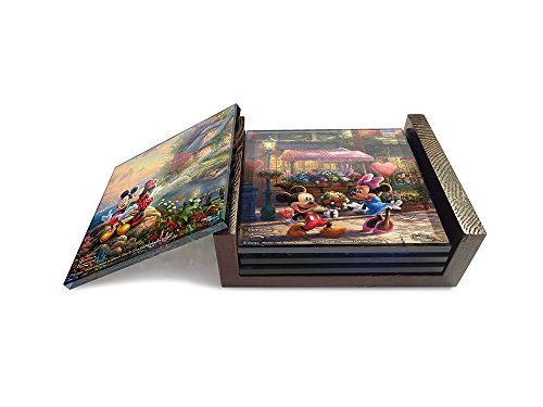 Disney's Mickey and Minnie Mouse (Sweetheart Collection) StarFire Prints Glass Coaster Set (4 Piece with holder) - Thomas Kinkade - Coaster Glass Piece Four