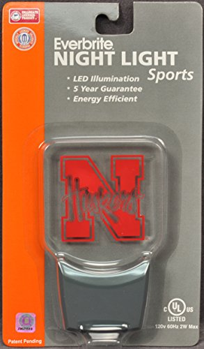 Authentic Street Signs 2-Pack NCAA Officially Licensed, LED Night Light, Super Energy Efficient-Prime Power Saving 0.5 watt,Great Sports Fan Gift for Adults-Babies-Kids (Nebraska Huskers)