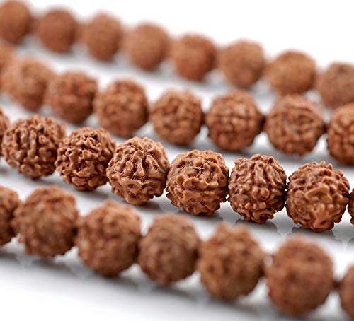 8mm Natural Rudraksha Bodhi Seed Gemstone Rare Mala Prayer Red Brown Round Loose Beads 35 inch 108 Beads 90182475-393