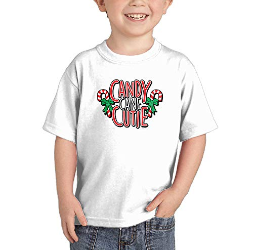HAASE UNLIMITED Candy Cane Cutie - Adorable Sweet Infant/Toddler Cotton Jersey T-Shirt (White, 3T)