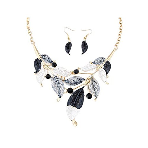 ZaH Boho Jewelry Set Pentant Necklace and Earrings for Women Girls Vintage Gift Wedding Party Black White Leaf