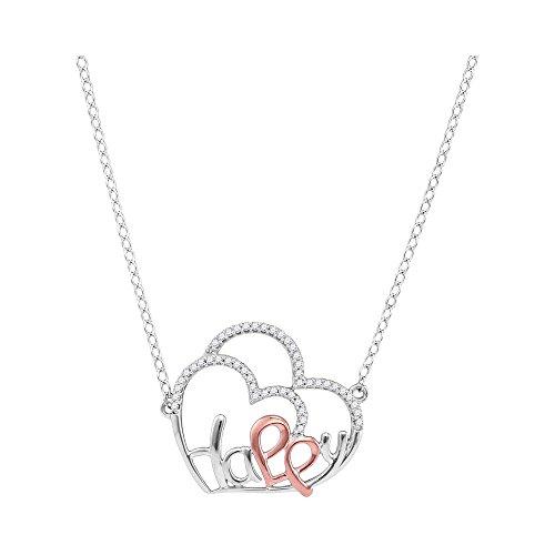 Roy Rose Jewelry 10K White Gold Ladies Diamond Heart Happy Pendant Necklace 1/8 Carat tw (Happy Diamond Gold Heart)