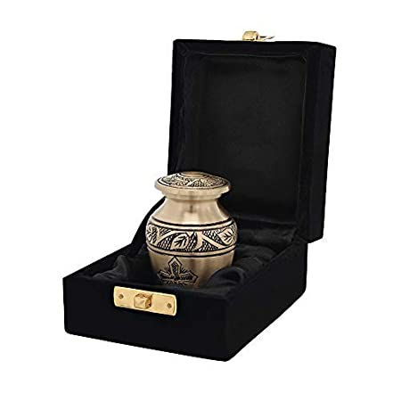Bronze Cross Beautiful Small Mini Keepsake Urn for Human Ashes - Qnty 1 - with Velvet Case Trupoint Memorials