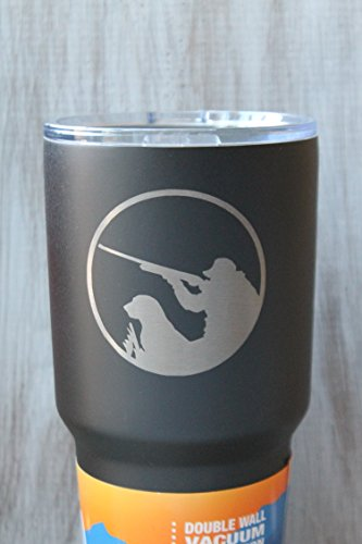 Sale-30 Oz. Engraved Textured Black Powder Coated Shotgun Duck Hunting and Dog Tumbler
