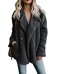 Women Faux Fur Coats Winter Casual Warm Button Outwear Jackets