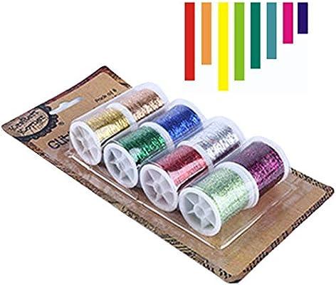 Hilo metálico para bordar, 8 piezas de hilo colorido con purpurina ...