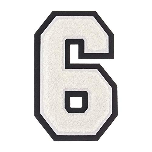 6 - White - 4 1/2 Inch Heat Seal/Sew On Chenille Varsity Number