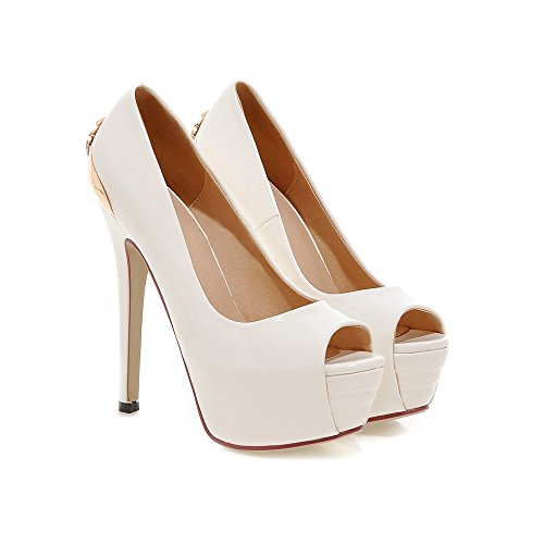 Mini-damesschoenen Stiletto Hoge Hak Platform Pomp Schoenen Wit