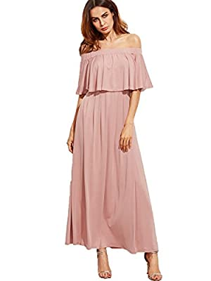 Milumia Women's Casual Off The Shoulder Layered Ruffle Party Beach Long Maxi Dress