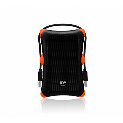 Silicon Power 2 TB External Portable Hard Drive Rugged Armor A30 Shockproof 2.5-Inch USB 3.0, Military Grade MIL-STD-810G, Black