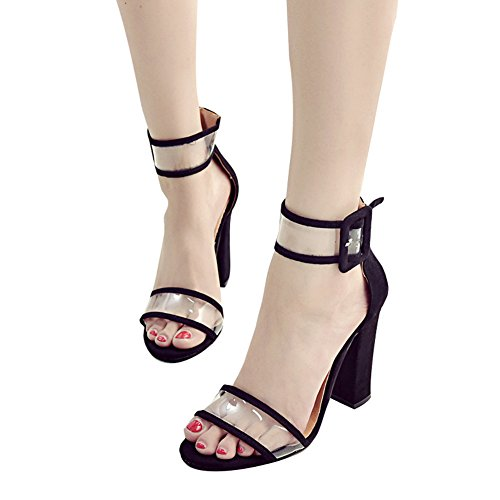 Juleya High Heels Sandals Women's Shoes 10 cm Transparent Chunky Block Heel Sandals Fashion Buckle Strap Shoes, Open Toe Sandals Party Pumps 35-43 Black