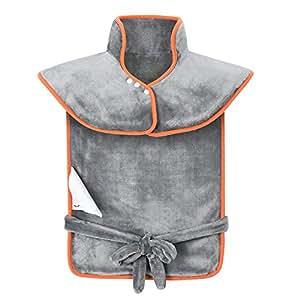 85x65cm Manta Electrica Espalda y Cuello, Almohadilla Eléctrica Cervical 120W de 45-65°C Calentar Rápido, Manta Electrica Lumbar Lavable, Aliviar ...