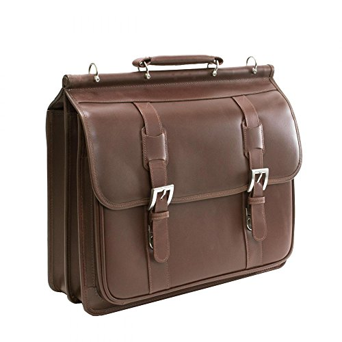 Siamod SIGNORINI 25594 Cognac Leather Double Compartment Laptop Case (Collection Computer Zippered Flap)