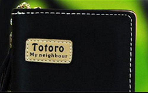 new Cuero Piel Cartera Multi-bolsillos Cartera hombre Purse Negro Amarillo Totoro rare
