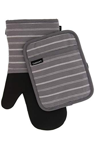 (Cuisinart Neoprene Oven Mitts and Potholder Set - Heat Resistant Gloves to Protect Hands and Surfaces with No-Slip Grip, Hanging Loop -Ideal for Handling Hot Cookware Items - Twill Stripe Titan. Grey)