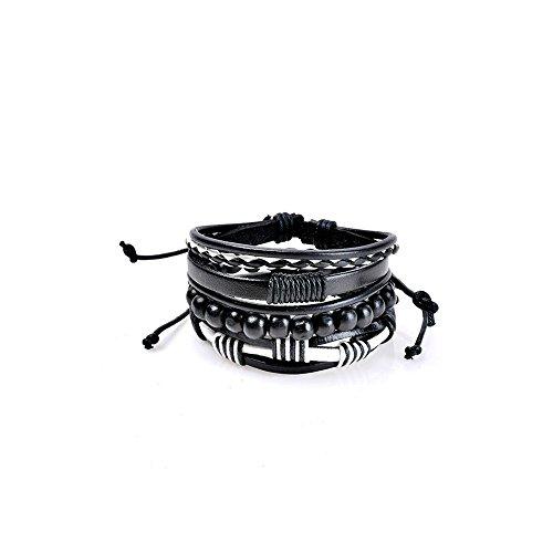 JSPOYOU Bracelets for Women Fashion Women Multilayer Handmade Wristband Leather Bracelet Bangle (H) ()