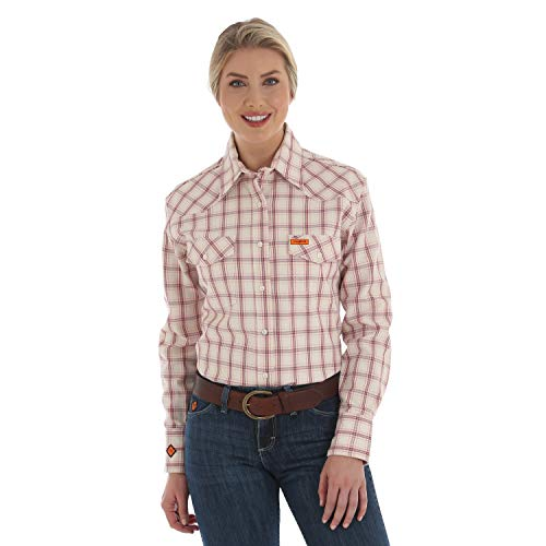 - Wrangler Women's FR Flame Resistant Western Twill Long Sleeve Snap Work Shirt, Pink Plaid, S