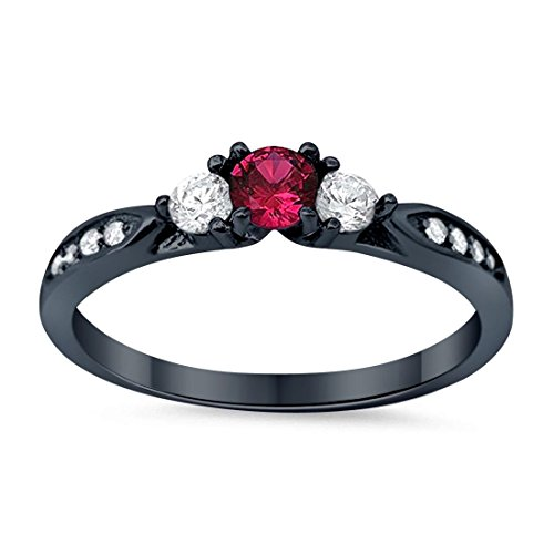 3-Stone Wedding Engagement Ring Simulated Ruby Round Cubic Zirconia Three Stone Black Tone 925 Sterling Silver, Size-5