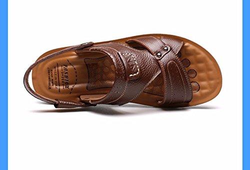 Sommer Männer Sandalen Echtleder Große Größe Strand Schuh Männer Freizeit Leder Sandalen Trend ,braun ,US=8,UK=7.5,EU=41 1/3,CN=42