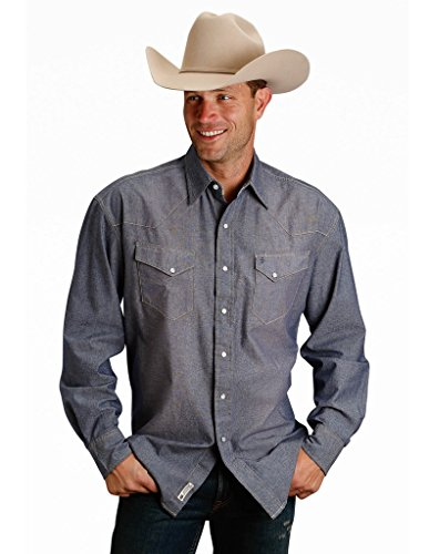 (Stetson Chambray LS Western Shirt Mens Collection- Orig (m) 11-001-0465-0290BU)