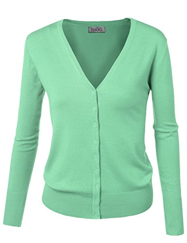BIADANI Women Button Down Long Sleeve Basic Soft Knit Cardigan Sweater