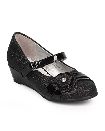 Little Angel DC35 Mix Media Glitter Flower Wedge Pump (Toddler/ Little Girl/ Big Girl) - Black (Size: Toddler (Black Flower Girl Shoes)